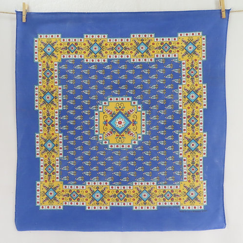 Blue and yellow square bandana or scarf with a French provincial floral print