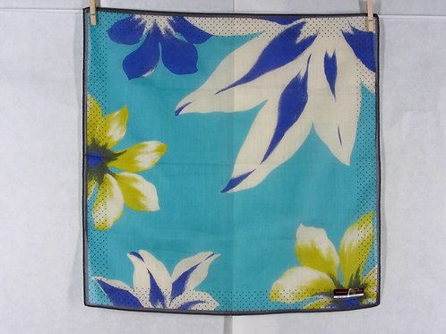Junko Koshino Handkerchief Blue Cotton Large Floral Print Japan