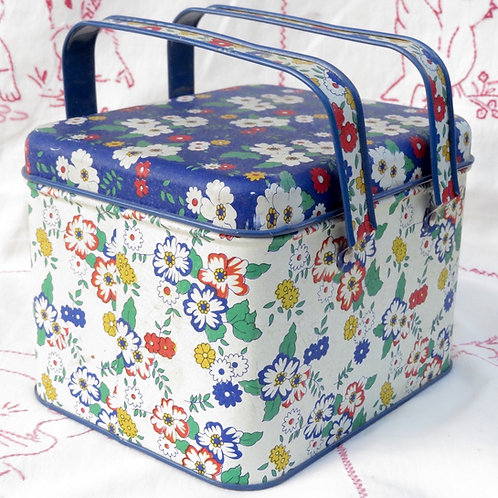 Vintage Potpourri Press floral printed basket tin with 2 handles