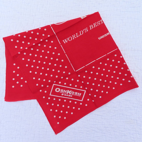 Folded Osh Kosh red and white polka dot bandana handkerchief