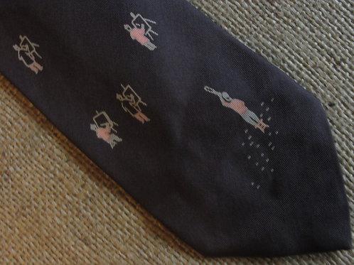 Lilly Dache Tie L'Artiste Vintage Necktie Brown Silk Artist Print
