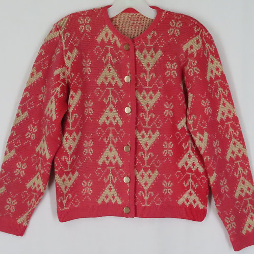 Vintage pink and off white patterned cardigan sweater