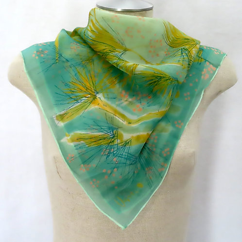 Vintage Vera green print silk scarf shown on mannequin