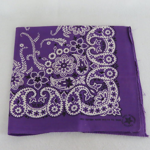 Vintage purple bandana with paisley and floral motif, folded into a square