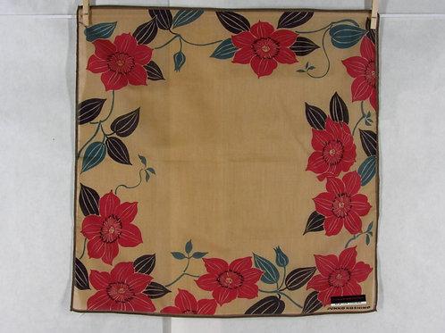 Junko Koshino Handkerchief Lt Brown Cotton Large Red Flower Print Japan