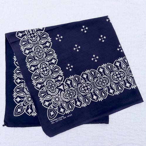 Vintage Indigo Blue White Bandana Geometric Flower Motif Discharge Print #428