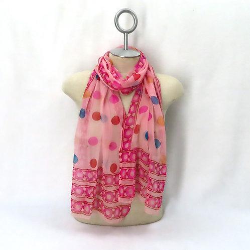 Vintage Silk Scarf Pink Chiffon Polka Dot Print