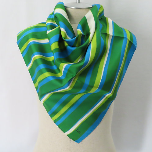 60s Echo Scarf Green Blue Off White Silk Stripes Hand Stitched Hems