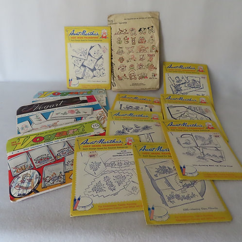 Lot of vintage iron on embroidery transfer pattern