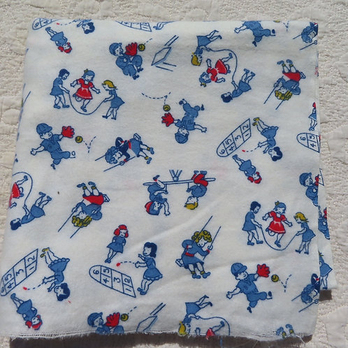 Vintage white flannel fabric with scenes of kids playing games