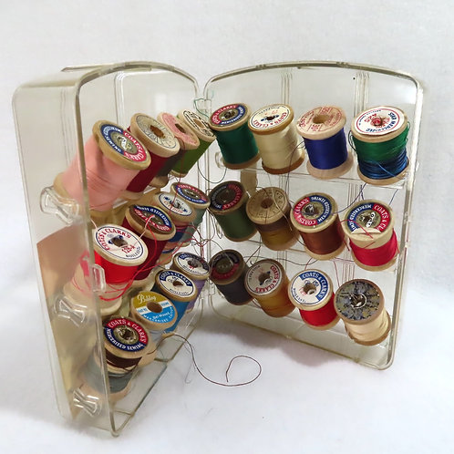 Vintage Lady Beth clear plastic sewing caddy or thread holder with colorful spools of thread