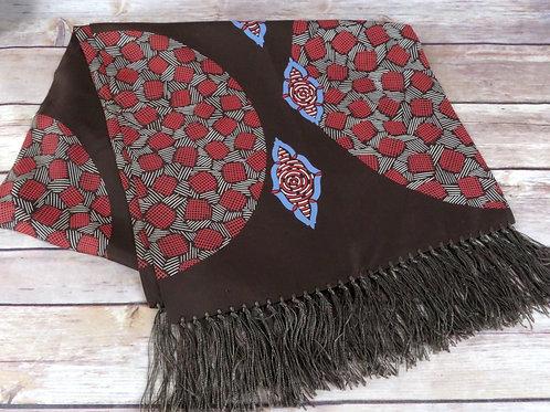 folded art deco motif brown vintage rayon scarf