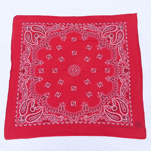 Full view of red Wamcraft bandana with paisley print
