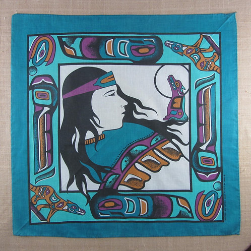 Turquoise bandana from the 80s features a native american woman in the center