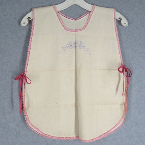 Vintage off white muslin tabard apron sized for a small child