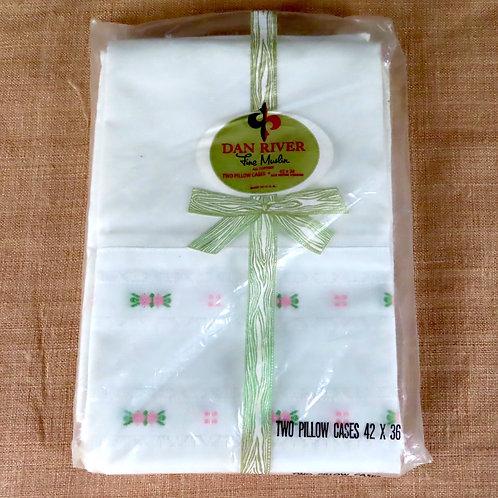 Vintage Dan River white pillowcase, still new in original package