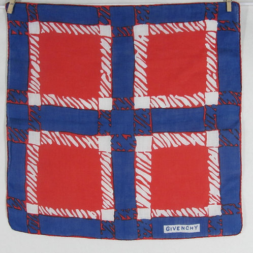 Vintage Givenchy Handkerchief Red Blue Linen Geometric Squares