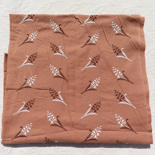 Vintage Brown Cotton Floral Embroidered Dress Fabric