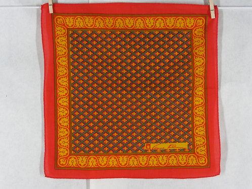 Anne Klein Handkerchief Red Yellow Print Cotton Hankie