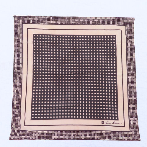 Large square Anne Klein bandana scarf with basket weave and dots