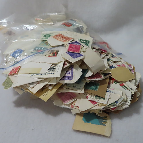 Vintage postal stamps for crafting or collage projects