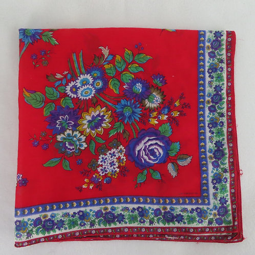 Red floral print scarf with purple roses