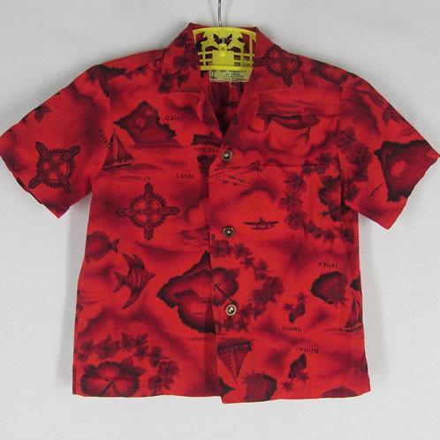Red Ui Maikai hawaiian shirt for a child