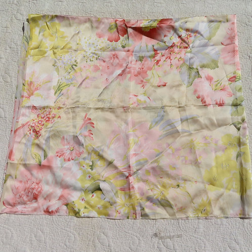 Silk fabric with a watercolor-like floral print