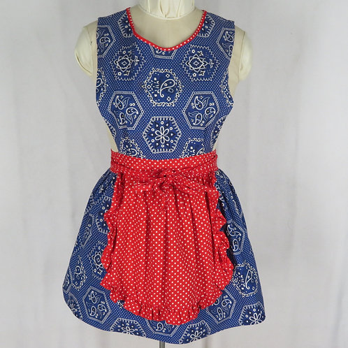 Vintage blue apron dress with red ruffled half apron