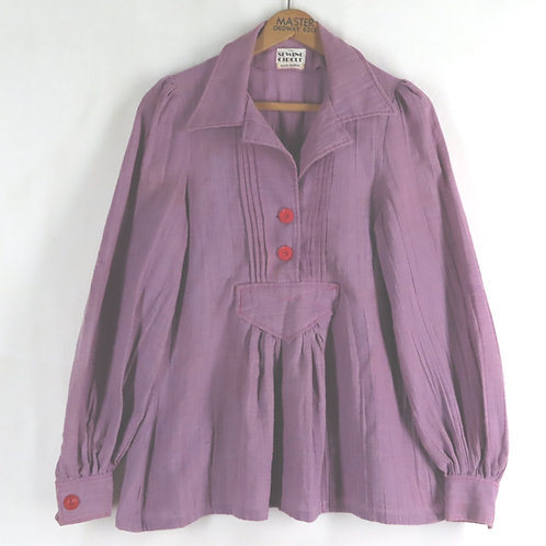 Vintage purple smock top with red buttons