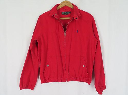 Vintage 90s Polo Ralph Lauren RED Work Jacket L Cotton Twill Zip Front