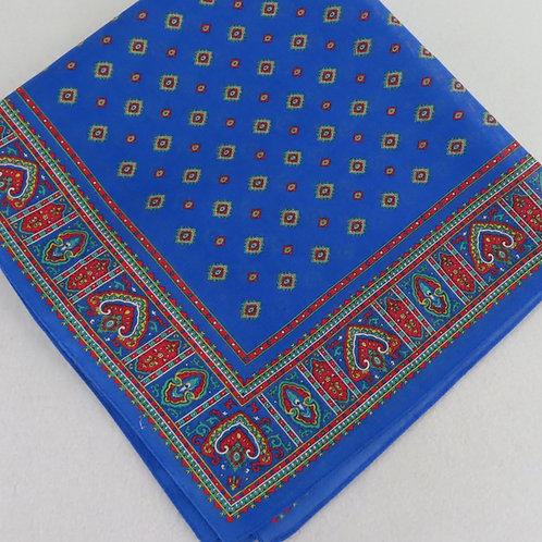 Vintage Blue Red Foulard Print Cotton Scarf Bandana