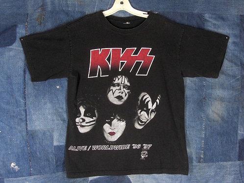 Vintage 90s KISS Concert Tee M Alive Worldwide Tour T-shirt 96 97 Black Cotton