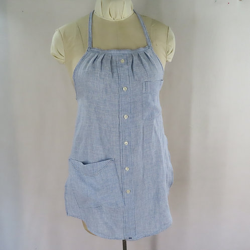 Upcycled handmade shirt apron made of linen shirting