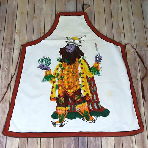 Vintage white apron with colorful man dressed wearing vegetables