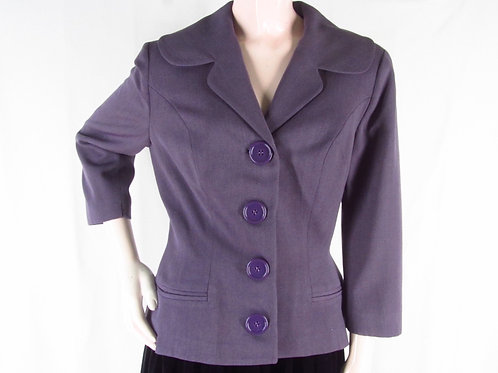 Vintage woman's fitted purple suit jacket from the 40s