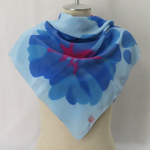Hand Painted Blue Floral Print Silk Scarf Large Square