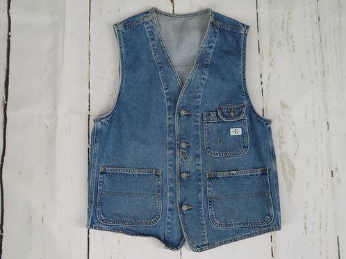 Vintage Calvin Klein Denim Work Vest L USA Work Wear