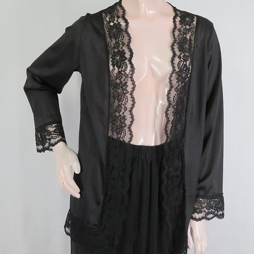 Black nylon tricot bed jacket or short robe by Undercover Wear