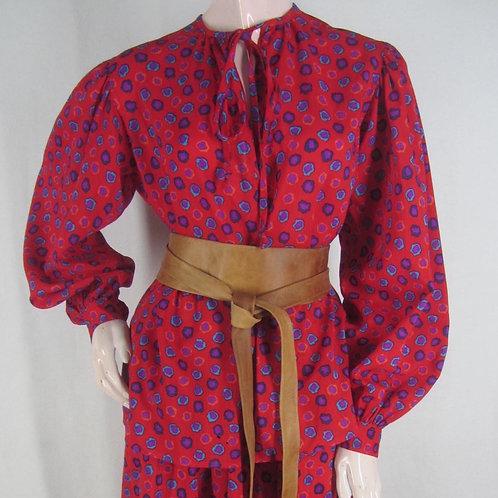 Vintage 70s Saint Laurent Rive Gauche red 2 piece dress