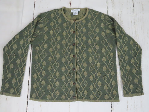 Vintage green cardigan sweater with beige lace knit pattern