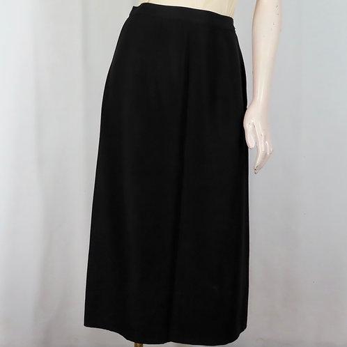 Vintage 50s black faille pencil skirt