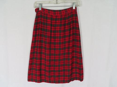 Vintage red plaid straight skirt