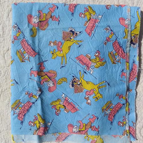 Vintage blue mother goose print fabric for kids