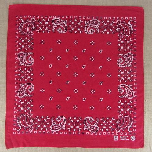 vintage red bandana with geometric and paisley print