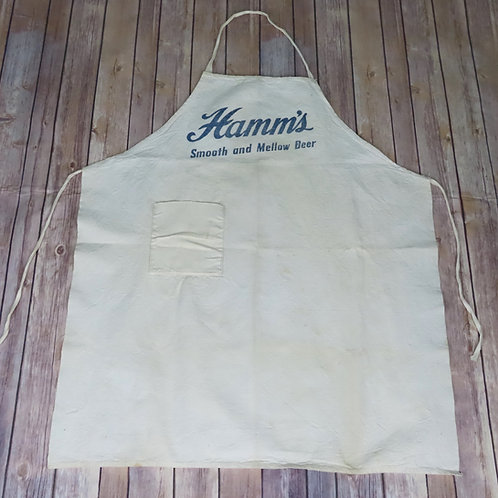 Old Hamms beer apron made of white cotton