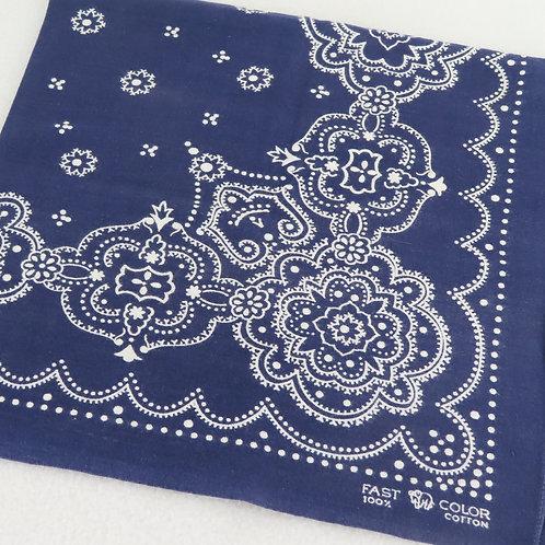 Corner detail on a vintage dark blue Elephant brand bandana