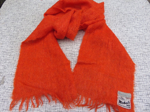Vintage Orange Mohair Wool Fuzzy Itchy Scarf