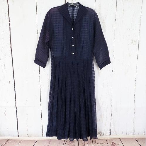 Sheer dark blue 50s dress with pleated waist