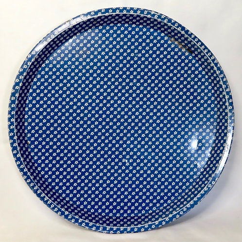 Sodahl blue and white floral round metal tray